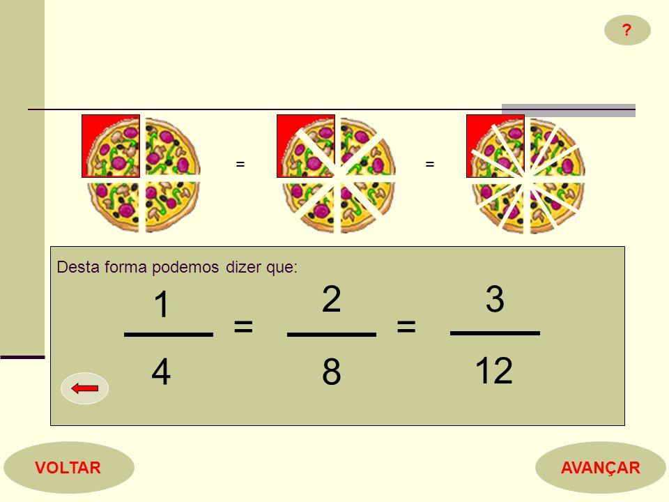 Desta forma podemos dizer que: 1 4 = 2 8 = 3 12 ? = = AVANÇARVOLTAR