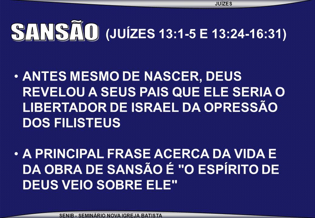 JUÍZES SENIB - SEMINÁRIO NOVA IGREJA BATISTA ANTES MESMO DE NASCER, DEUS REVELOU A SEUS PAIS QUE ELE SERIA O LIBERTADOR DE ISRAEL DA OPRESSÃO DOS FILI