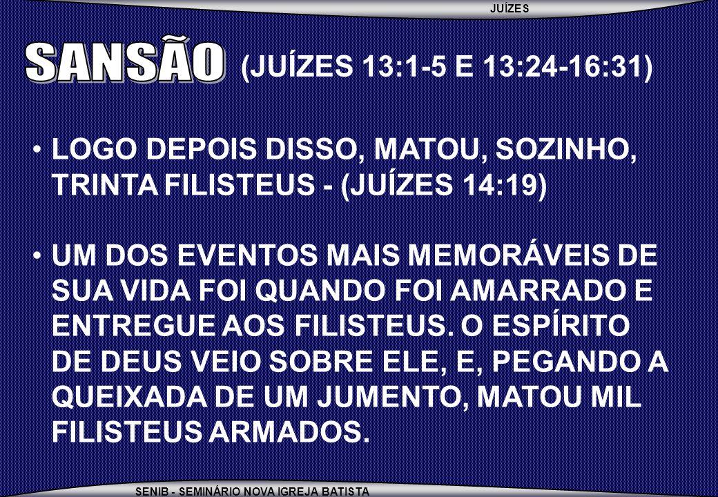 JUÍZES SENIB - SEMINÁRIO NOVA IGREJA BATISTA LOGO DEPOIS DISSO, MATOU, SOZINHO, TRINTA FILISTEUS - (JUÍZES 14:19) UM DOS EVENTOS MAIS MEMORÁVEIS DE SU