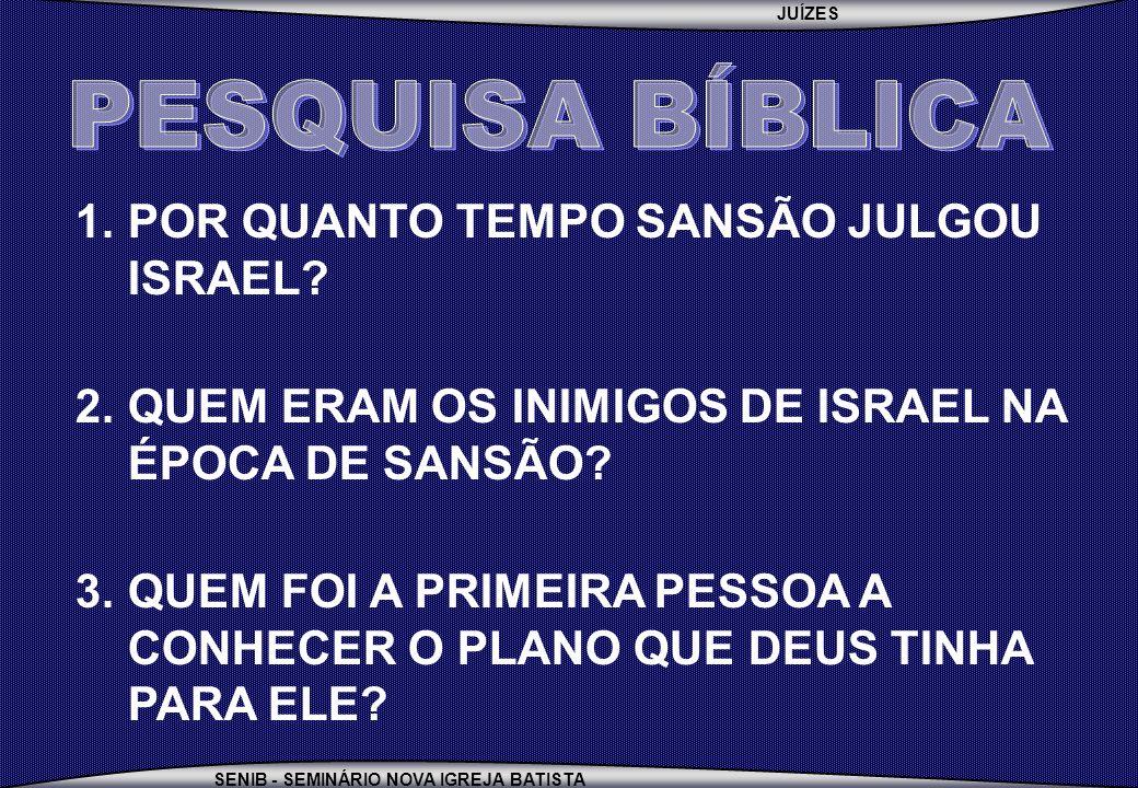 JUÍZES SENIB - SEMINÁRIO NOVA IGREJA BATISTA 1.POR QUANTO TEMPO SANSÃO JULGOU ISRAEL? 2.QUEM ERAM OS INIMIGOS DE ISRAEL NA ÉPOCA DE SANSÃO? 3.QUEM FOI