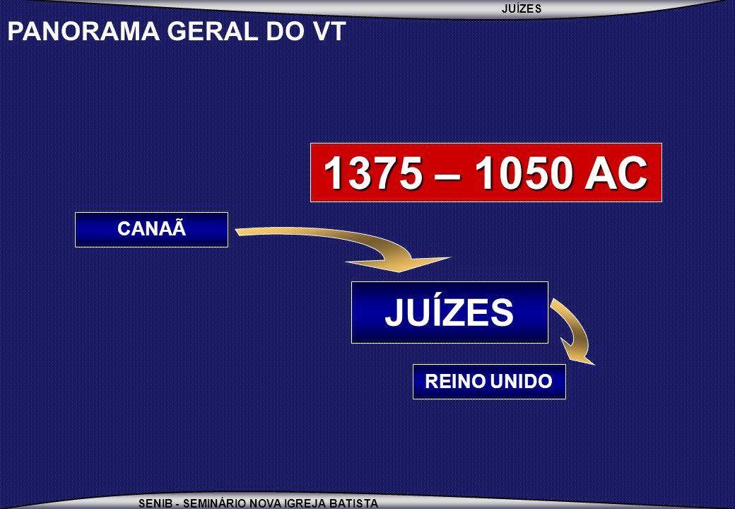 JUÍZES SENIB - SEMINÁRIO NOVA IGREJA BATISTA PANORAMA GERAL DO VT REINO UNIDO JUÍZES CANAÃ 1375 – 1050 AC