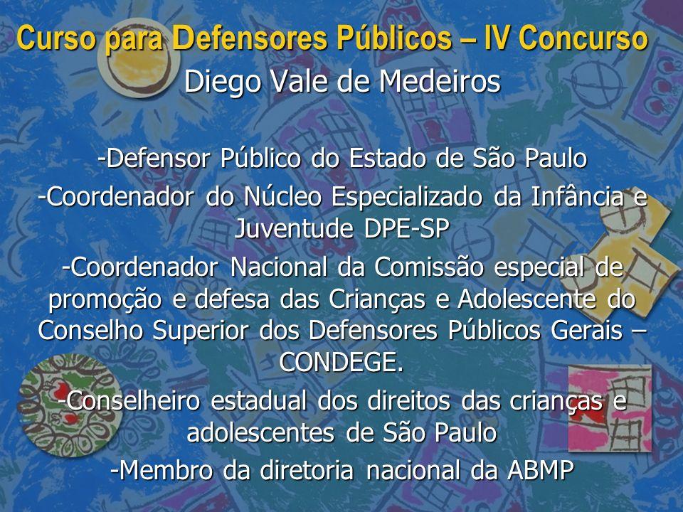 Curso para D efensores Públicos – IV Concurso Diego Vale de Medeiros -Defensor Público do Estado de São Paulo -Coordenador do Núcleo Especializado da