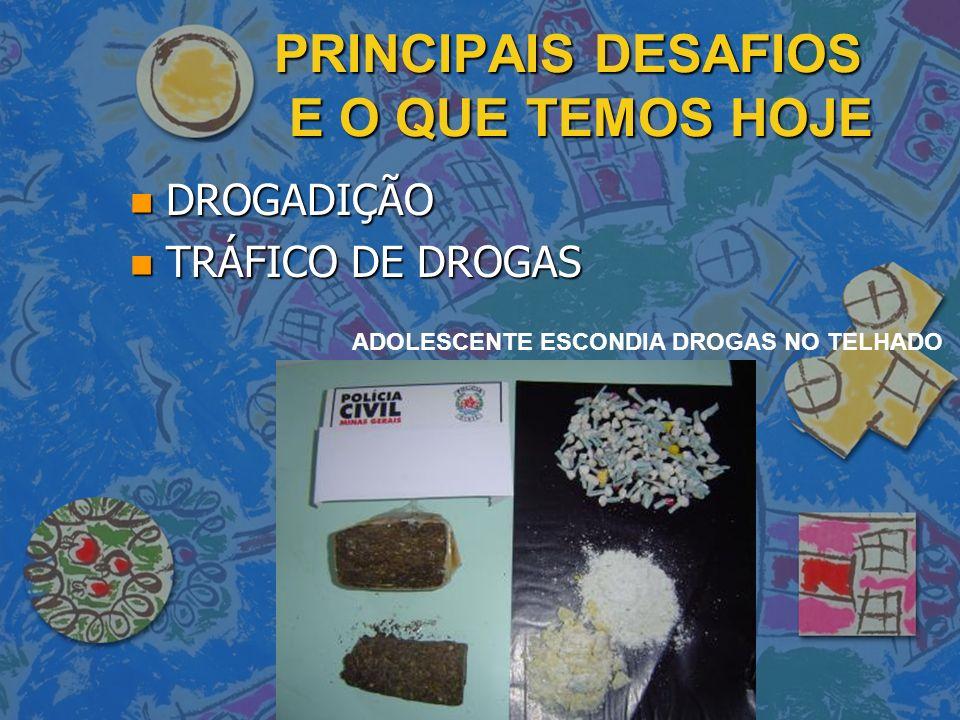 PRINCIPAIS DESAFIOS E O QUE TEMOS HOJE n DROGADIÇÃO n TRÁFICO DE DROGAS ADOLESCENTE ESCONDIA DROGAS NO TELHADO