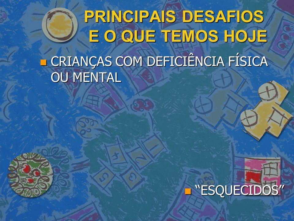 PRINCIPAIS DESAFIOS E O QUE TEMOS HOJE n CRIANÇAS COM DEFICIÊNCIA FÍSICA OU MENTAL n ESQUECIDOS