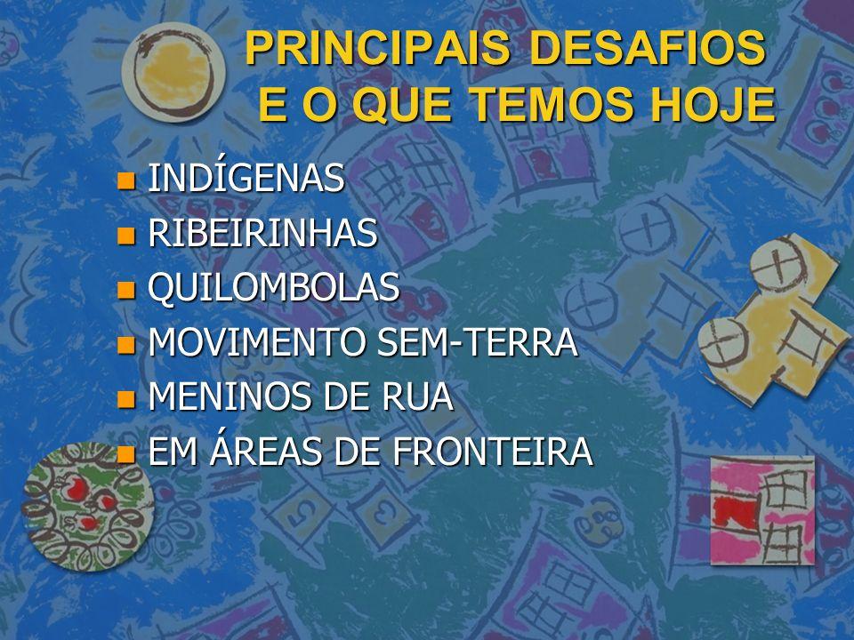 PRINCIPAIS DESAFIOS E O QUE TEMOS HOJE n INDÍGENAS n RIBEIRINHAS n QUILOMBOLAS n MOVIMENTO SEM-TERRA n MENINOS DE RUA n EM ÁREAS DE FRONTEIRA