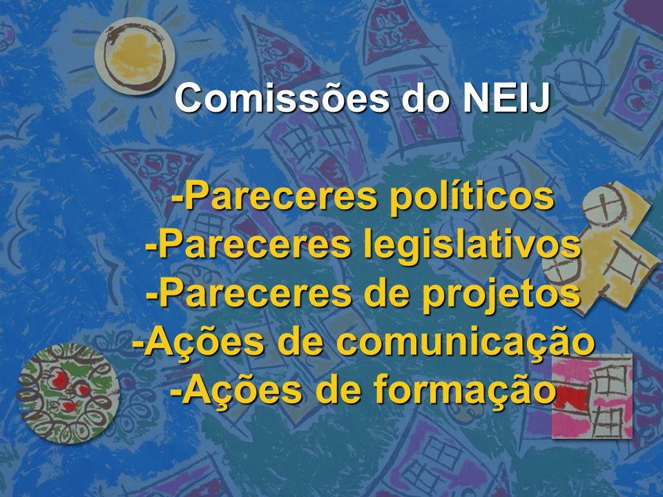 Comissões do NEIJ -Pareceres políticos -Pareceres legislativos -Pareceres de projetos -Ações de comunicação -Ações de formação
