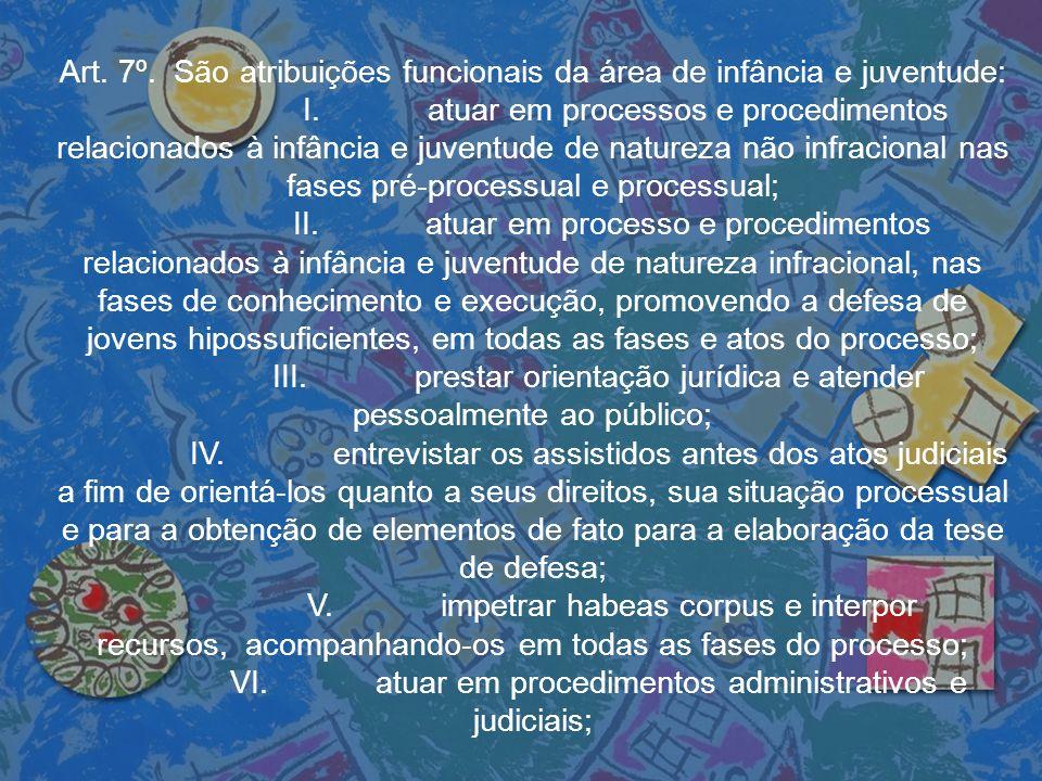 Art. 7º. São atribuições funcionais da área de infância e juventude: I. atuar em processos e procedimentos relacionados à infância e juventude de natu