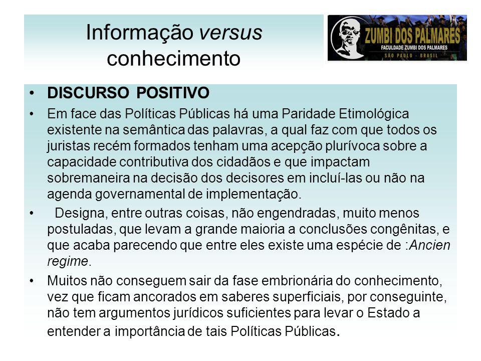 Informação versus conhecimento DISCURSO POSITIVO Em face das Políticas Públicas há uma Paridade Etimológica existente na semântica das palavras, a qua