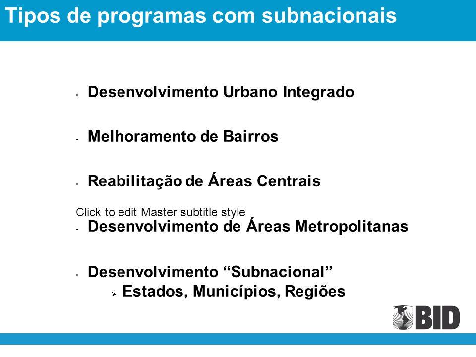 Click to edit Master subtitle style Desenvolvimento Urbano Integrado Melhoramento de Bairros Reabilitação de Áreas Centrais Desenvolvimento de Áreas Metropolitanas Desenvolvimento Subnacional Estados, Municípios, Regiões Tipos de programas com subnacionais