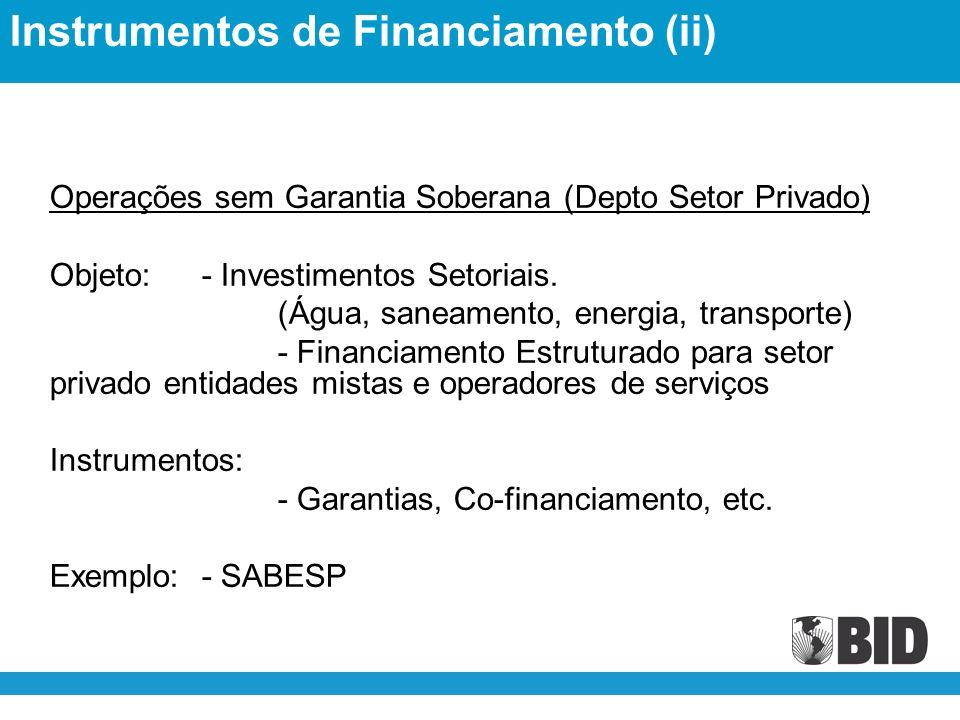 Operações sem Garantia Soberana (Depto Setor Privado) Objeto:- Investimentos Setoriais.