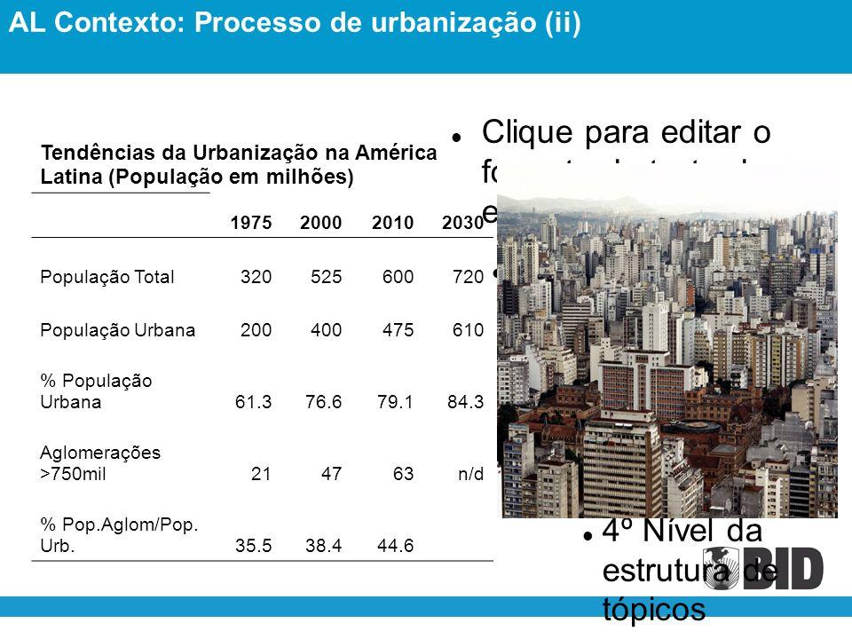 Clique para editar o formato do texto da estrutura de tópicos 2º Nível da estrutura de tópicos 3º Nível da estrutura de tópicos 4º Nível da estrutura de tópicos 5º Nível da estrutura de tópicos 6º Nível da estrutura de tópicos 7º Nível da estrutura de tópicos 8º Nível da estrutura de tópicos 9º Nível da estrutura de tópicosClick to edit Master text styles Second level Third level Fourth level Fifth level Tendências da Urbanização na América Latina (População em milhões) 1975200020102030 População Total320525600720 População Urbana200400475610 % População Urbana61.376.679.184.3 Aglomerações >750mil214763n/d % Pop.Aglom/Pop.