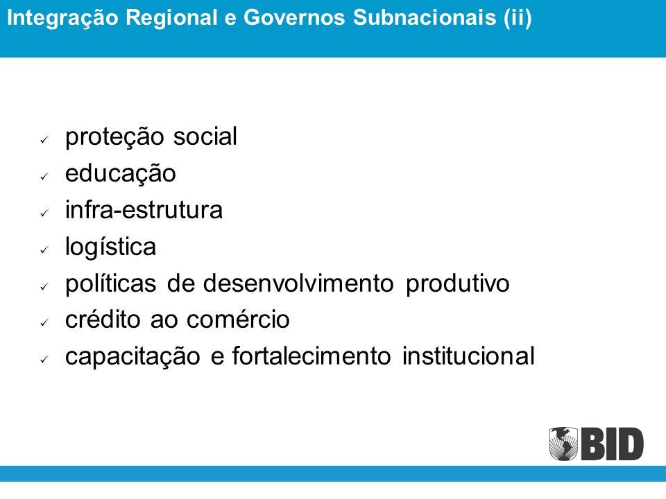 proteção social educação infra-estrutura logística políticas de desenvolvimento produtivo crédito ao comércio capacitação e fortalecimento institucional Integração Regional e Governos Subnacionais (ii)