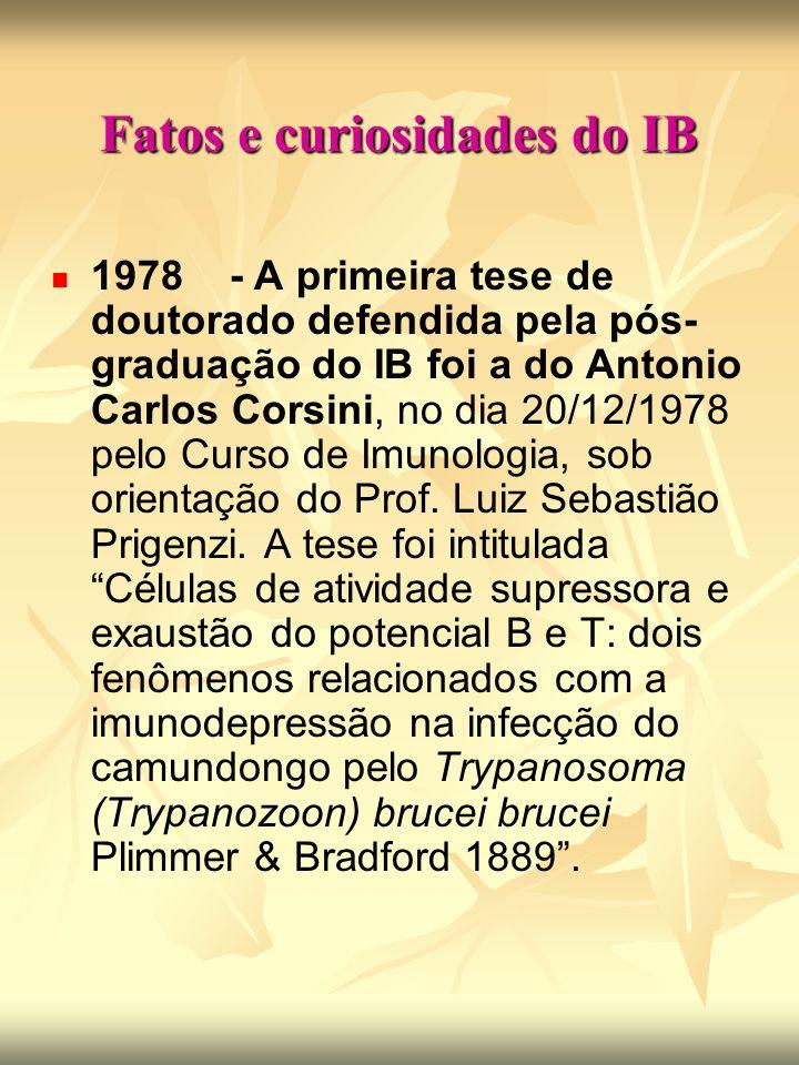 Fatos e curiosidades do IB 1978 - A primeira tese de doutorado defendida pela pós- graduação do IB foi a do Antonio Carlos Corsini, no dia 20/12/1978 pelo Curso de Imunologia, sob orientação do Prof.
