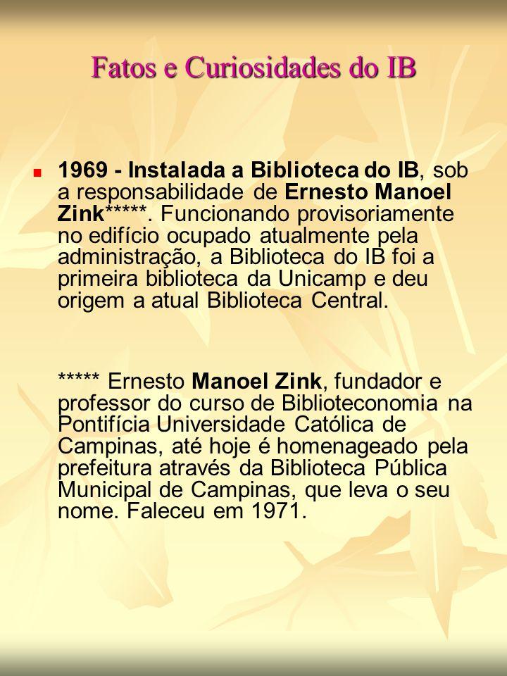 Fatos e Curiosidades do IB 1969 - Instalada a Biblioteca do IB, sob a responsabilidade de Ernesto Manoel Zink*****.