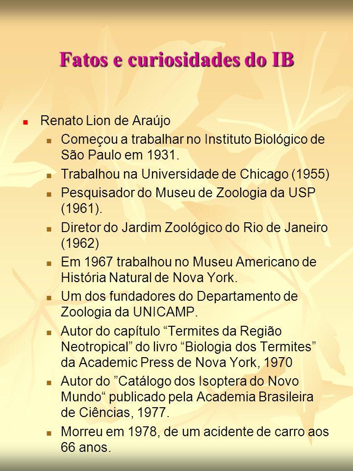 Fatos e curiosidades do IB Renato Lion de Araújo Começou a trabalhar no Instituto Biológico de São Paulo em 1931.