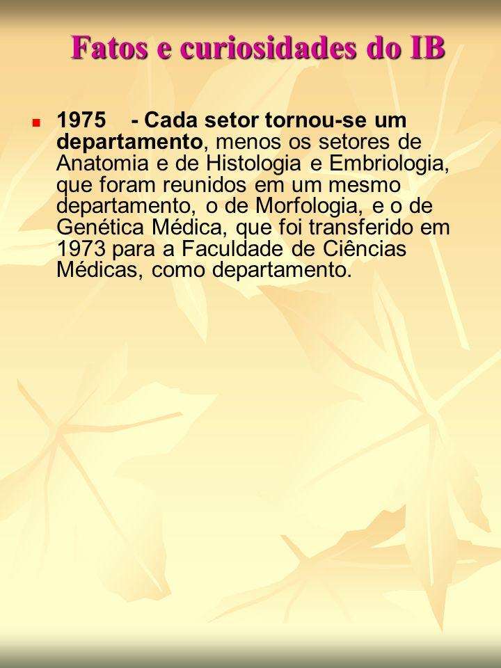 Fatos e curiosidades do IB 1975 - Cada setor tornou-se um departamento, menos os setores de Anatomia e de Histologia e Embriologia, que foram reunidos em um mesmo departamento, o de Morfologia, e o de Genética Médica, que foi transferido em 1973 para a Faculdade de Ciências Médicas, como departamento.