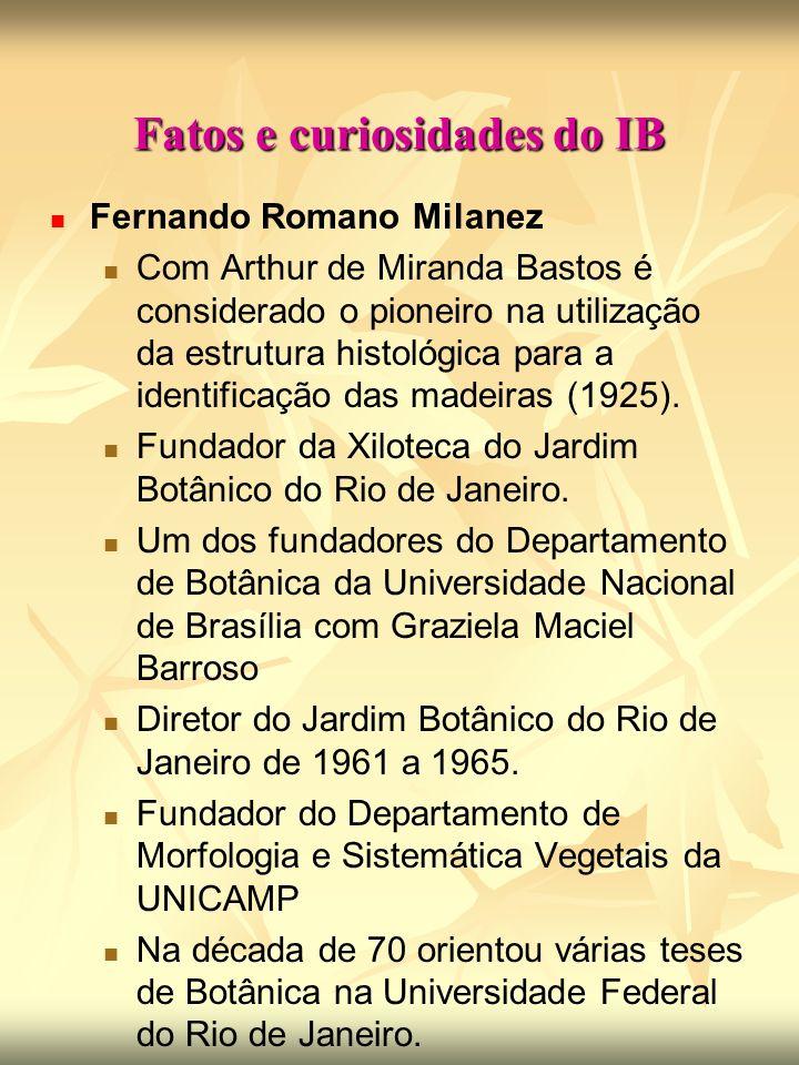 Fatos e curiosidades do IB Fernando Romano Milanez Com Arthur de Miranda Bastos é considerado o pioneiro na utilização da estrutura histológica para a identificação das madeiras (1925).