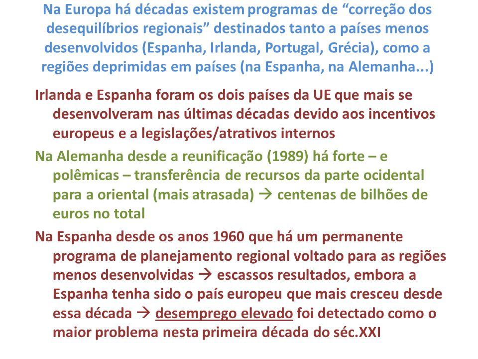 Na Europa há décadas existem programas de correção dos desequilíbrios regionais destinados tanto a países menos desenvolvidos (Espanha, Irlanda, Portu