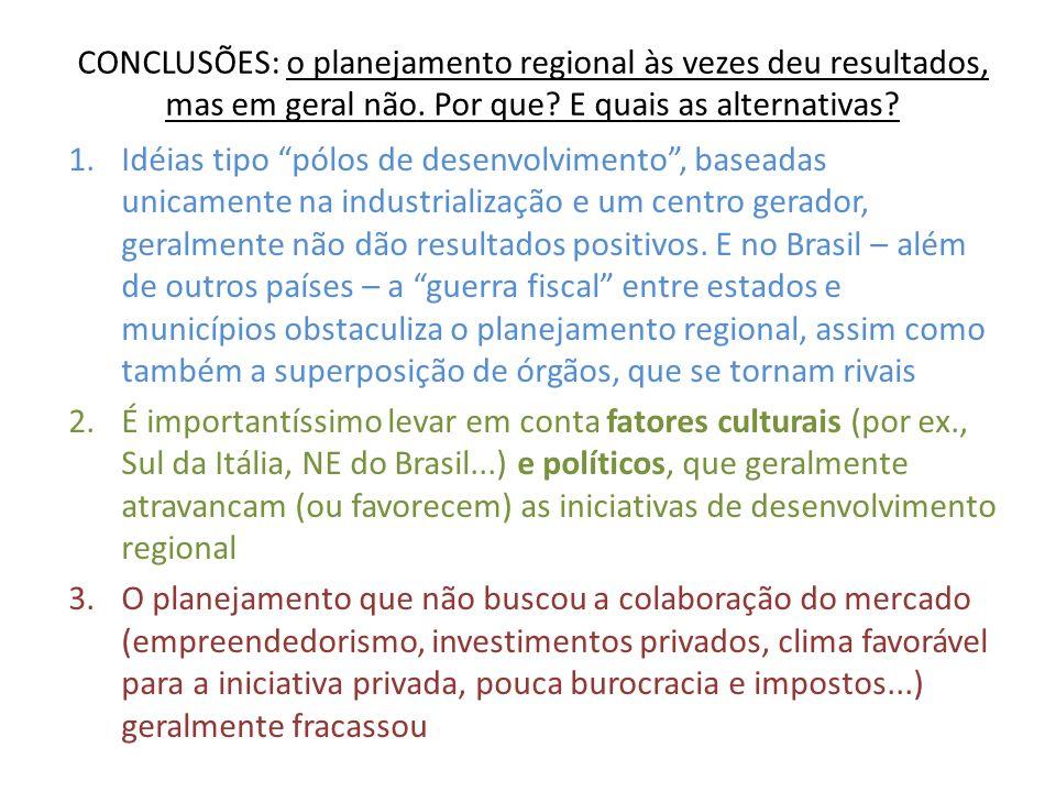 CONCLUSÕES: o planejamento regional às vezes deu resultados, mas em geral não. Por que? E quais as alternativas? 1.Idéias tipo pólos de desenvolviment