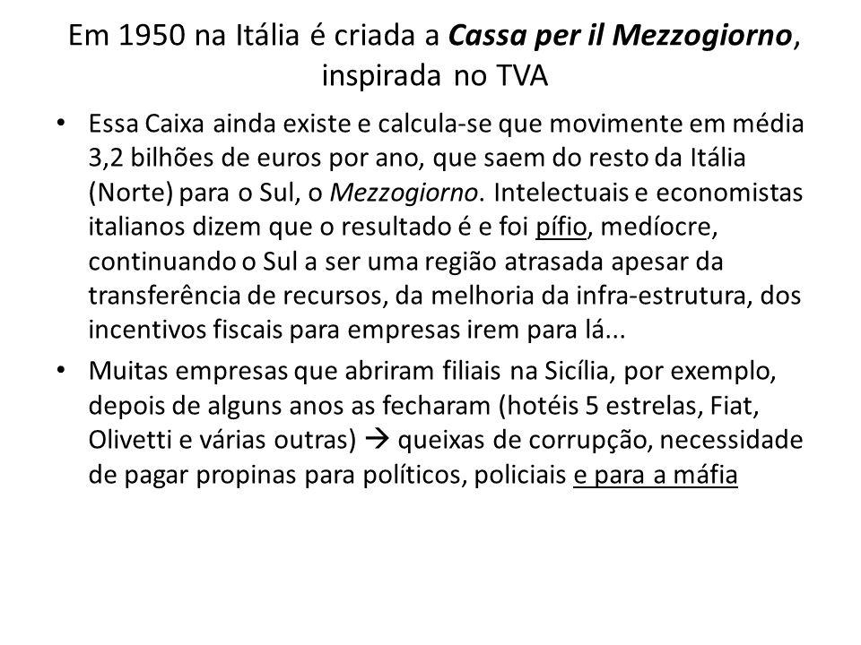 Em 1950 na Itália é criada a Cassa per il Mezzogiorno, inspirada no TVA Essa Caixa ainda existe e calcula-se que movimente em média 3,2 bilhões de eur