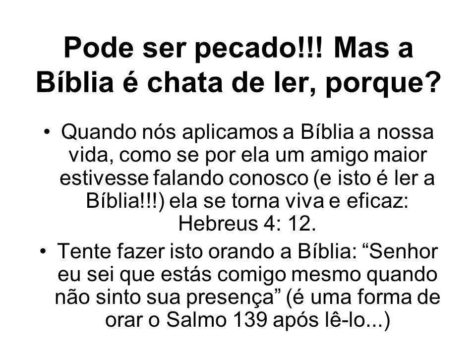 Pode ser pecado!!! Mas a Bíblia é chata de ler, porque? Quando nós aplicamos a Bíblia a nossa vida, como se por ela um amigo maior estivesse falando c