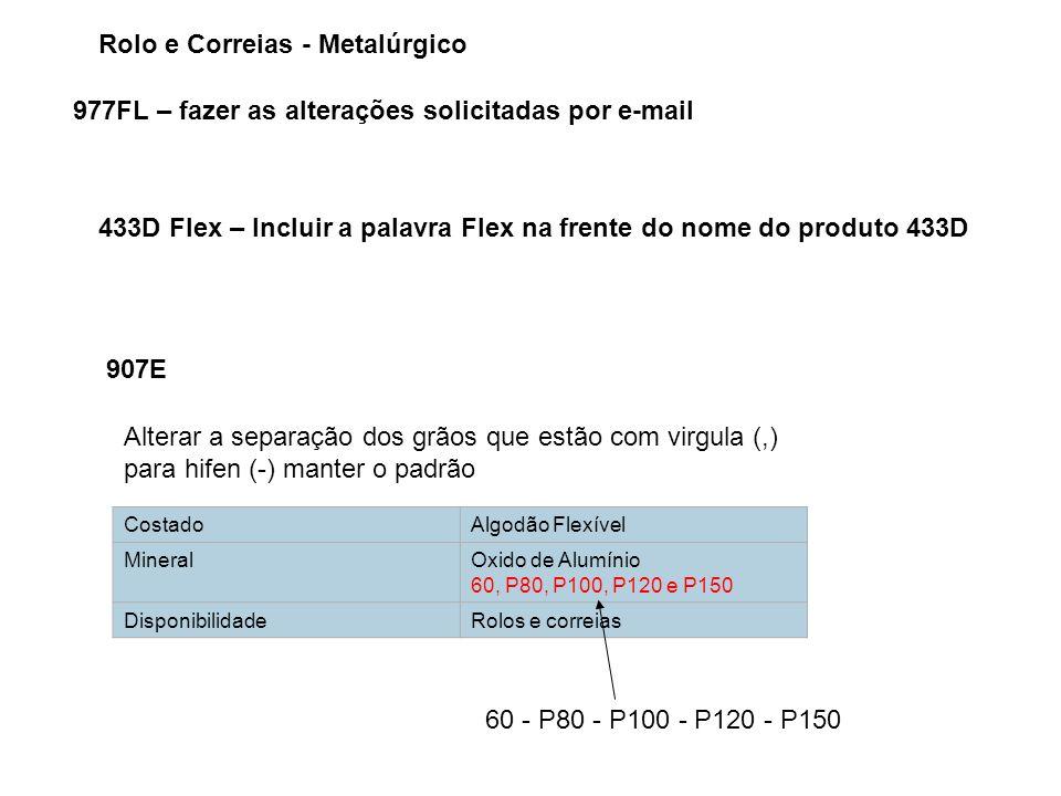 Rolo e Correias - Metalúrgico 977FL – fazer as alterações solicitadas por e-mail 433D Flex – Incluir a palavra Flex na frente do nome do produto 433D