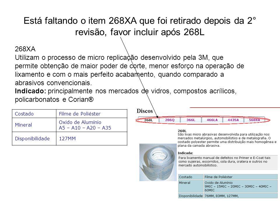 Está faltando o item 268XA que foi retirado depois da 2° revisão, favor incluir após 268L 268XA Utilizam o processo de micro replicação desenvolvido p