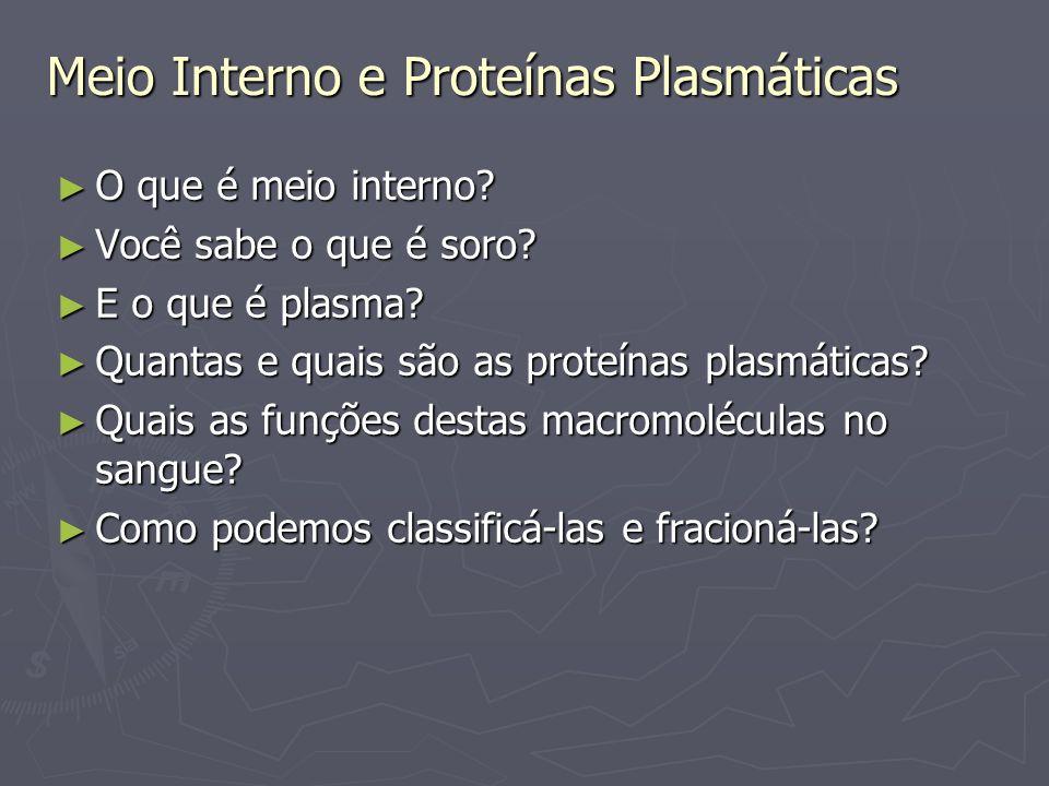Meio Interno e Proteínas Plasmáticas Meio interno é conjunto de líquidos extracelulares tais como o sangue, linfa, líquido intersticial, líquor,entre outros.
