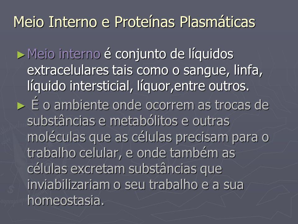Meio Interno e Proteínas Plasmáticas Soro é a fração líquida do sangue, acelular e contendo parte das proteínas presentes no sangue.