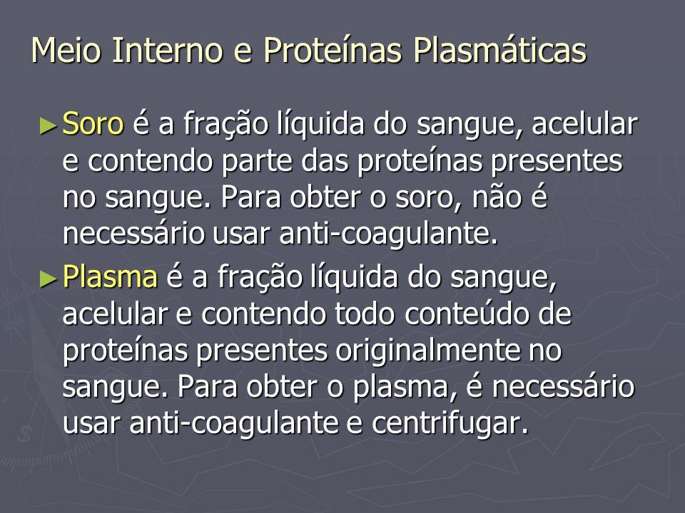 Meio Interno e Proteínas Plasmáticas Sangue:
