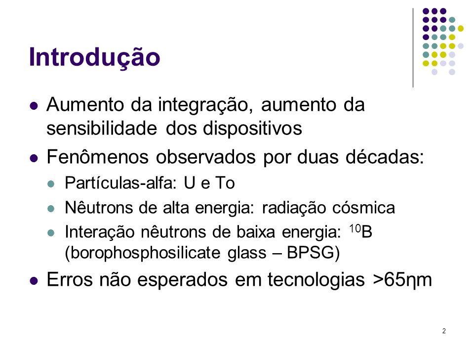 2 Introdução Aumento da integração, aumento da sensibilidade dos dispositivos Fenômenos observados por duas décadas: Partículas-alfa: U e To Nêutrons de alta energia: radiação cósmica Interação nêutrons de baixa energia: 10 B (borophosphosilicate glass – BPSG) Erros não esperados em tecnologias >65ηm