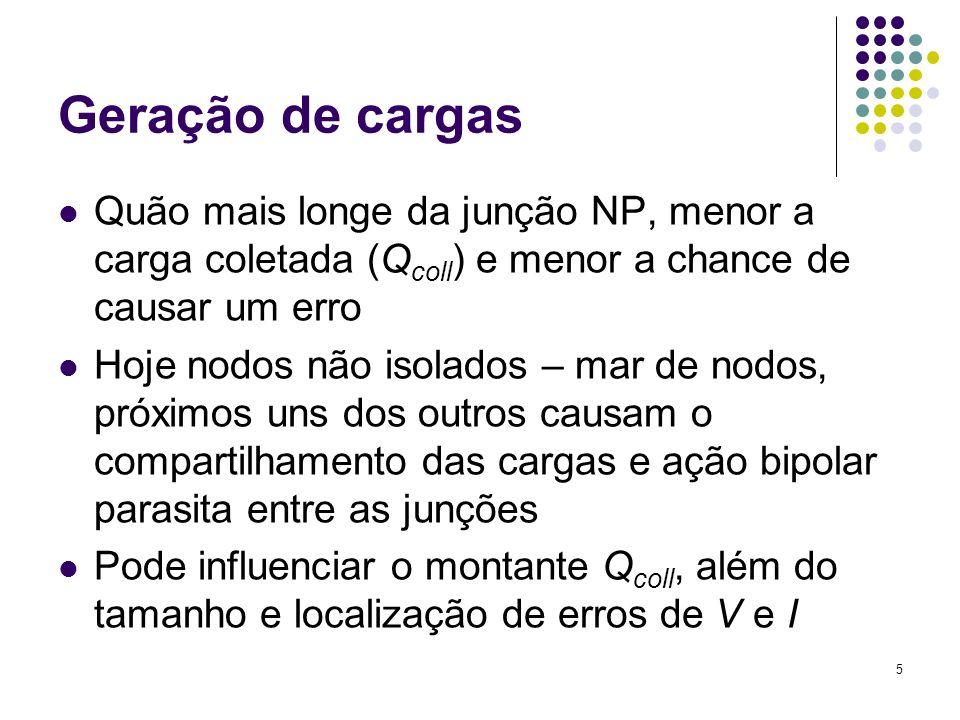 5 Geração de cargas Quão mais longe da junção NP, menor a carga coletada (Q coll ) e menor a chance de causar um erro Hoje nodos não isolados – mar de