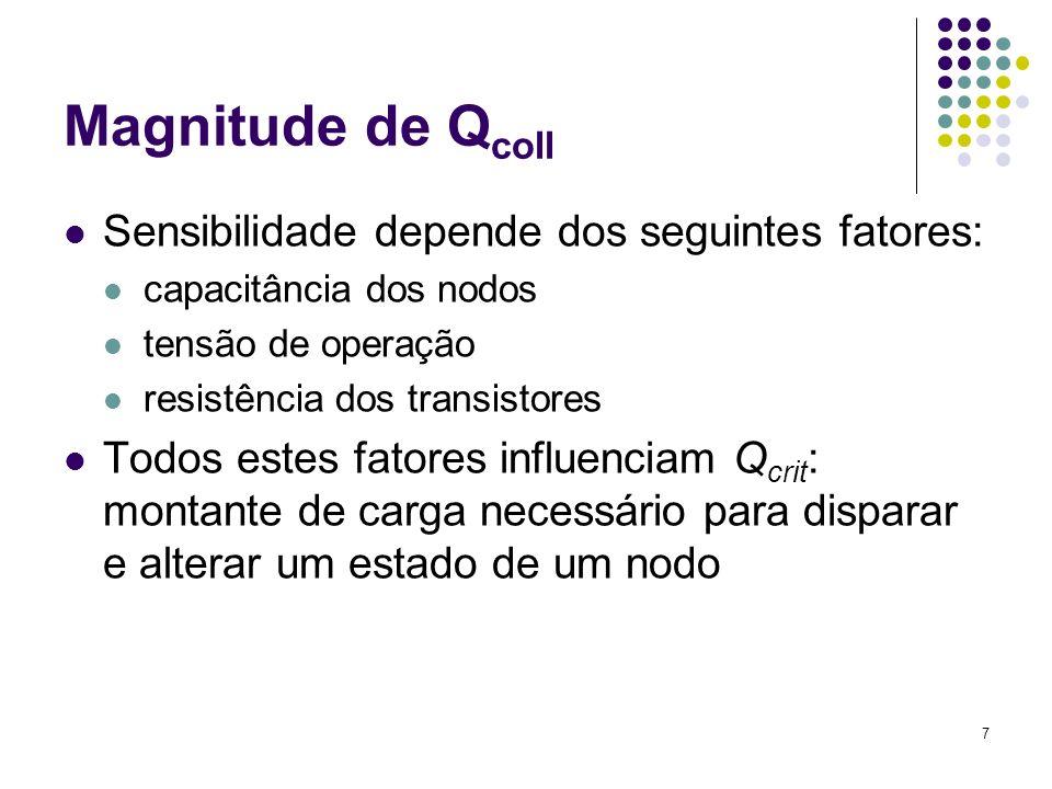7 Magnitude de Q coll Sensibilidade depende dos seguintes fatores: capacitância dos nodos tensão de operação resistência dos transistores Todos estes fatores influenciam Q crit : montante de carga necessário para disparar e alterar um estado de um nodo