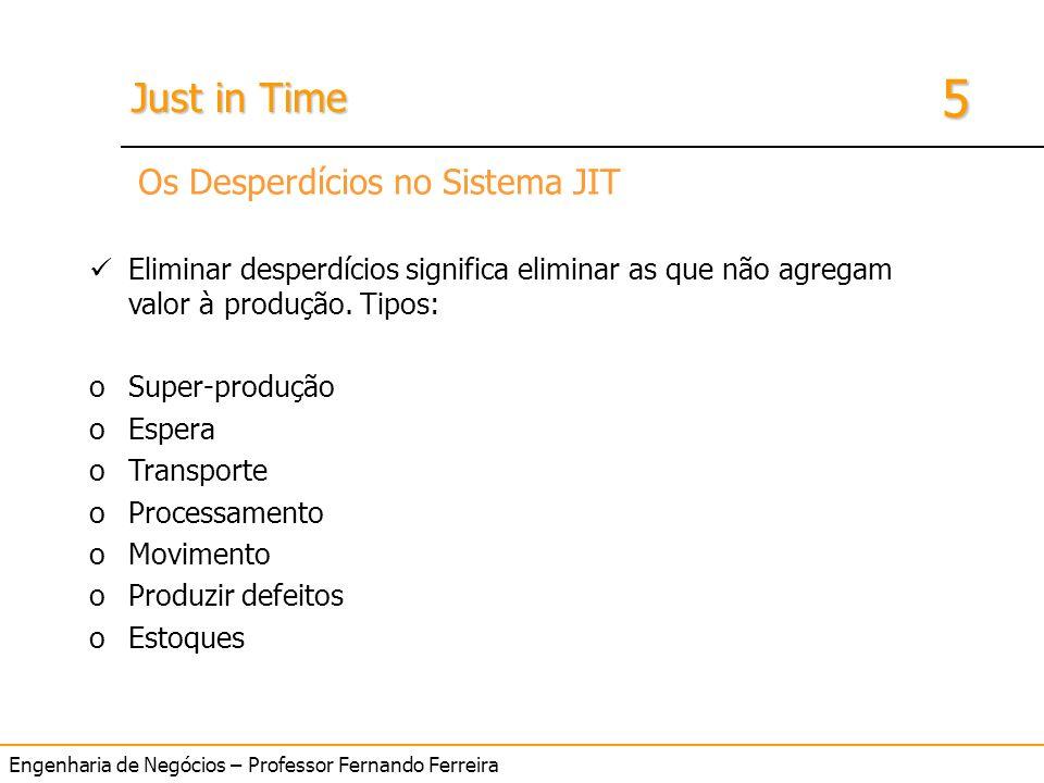 Engenharia de Negócios – Professor Fernando Ferreira 5 Just in Time 7 desperdícios Os Desperdícios no Sistema JIT Eliminar desperdícios significa elim