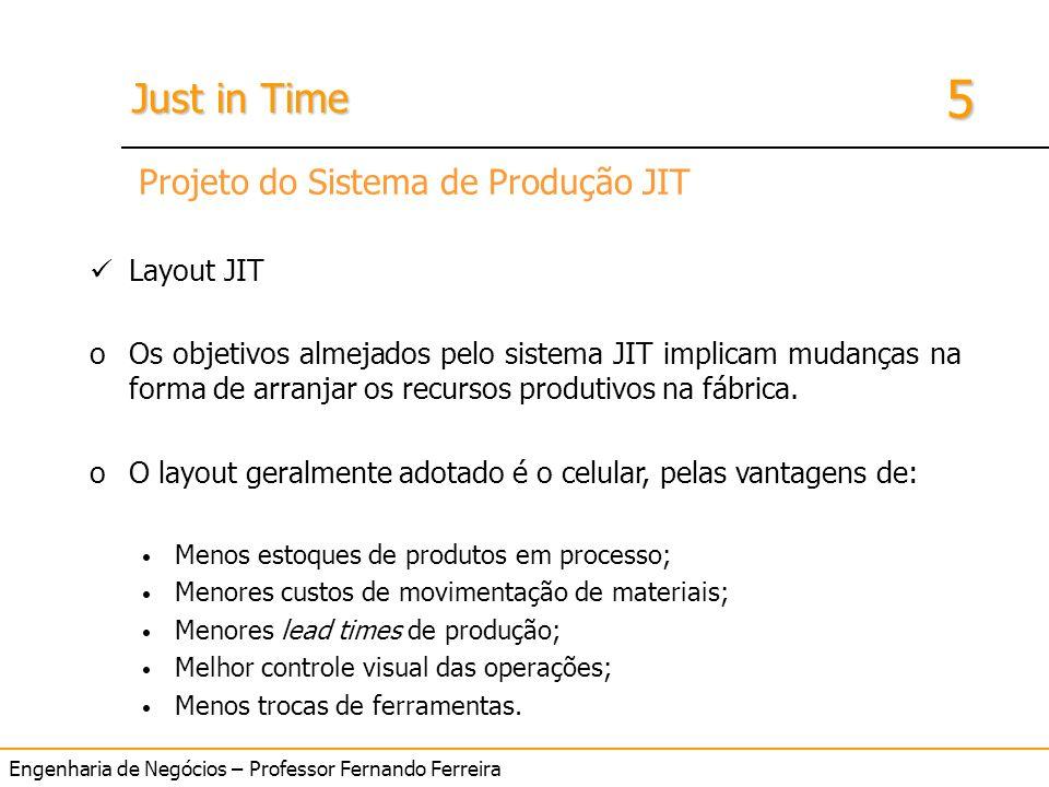 Engenharia de Negócios – Professor Fernando Ferreira 5 Just in Time Layout JIT oOs objetivos almejados pelo sistema JIT implicam mudanças na forma de