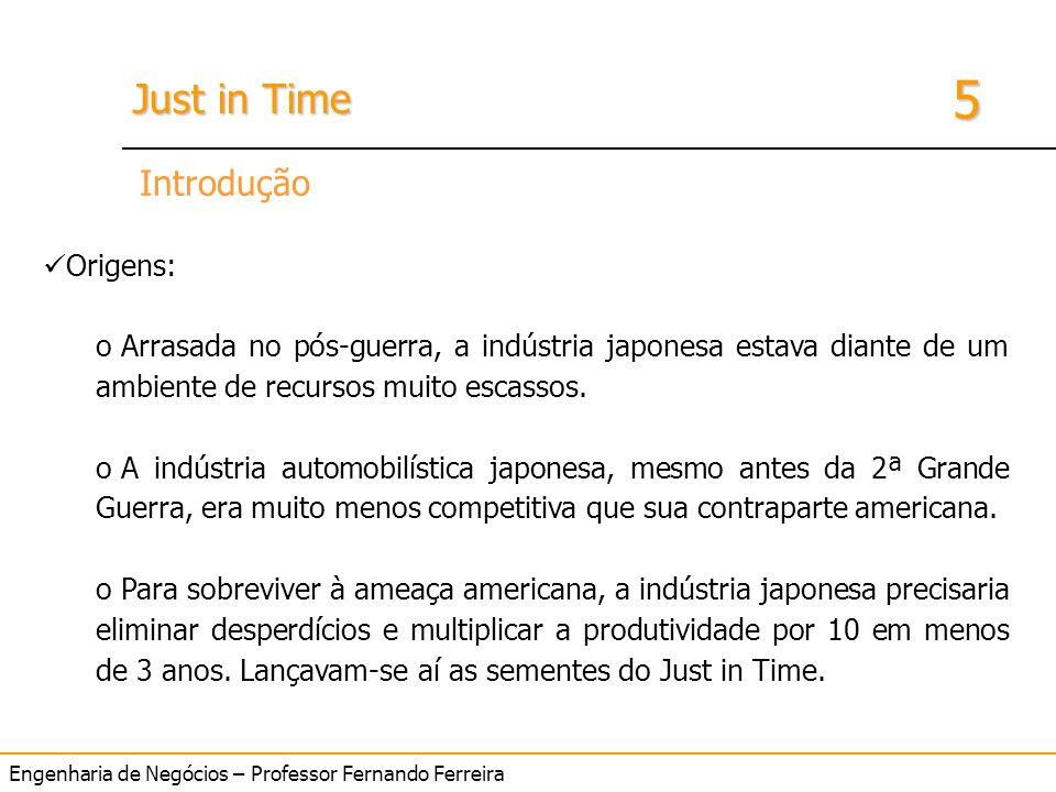 Engenharia de Negócios – Professor Fernando Ferreira 5 Just in Time Introdução Origens: o Arrasada no pós-guerra, a indústria japonesa estava diante d