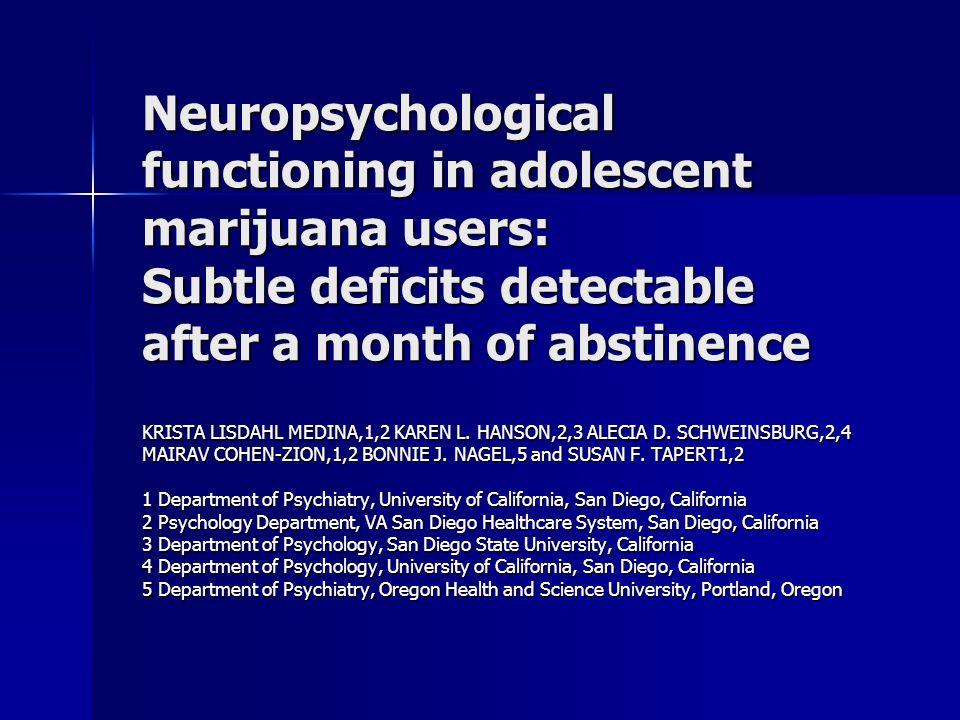 Discussão Uso maconha na adolescência pode ter impacto negativo na neuromaturação e desenvolvimento cognitivo, com conseqüências piores que o uso na vida adulta; Uso maconha na adolescência pode ter impacto negativo na neuromaturação e desenvolvimento cognitivo, com conseqüências piores que o uso na vida adulta; Início de uso de maconha na adolescência pode interferir no pruning da substância cinzenta e na mielinização da substância branca, especialmente na PFC (Block 2002; Egerton 2006; Lundqvist, 2001).