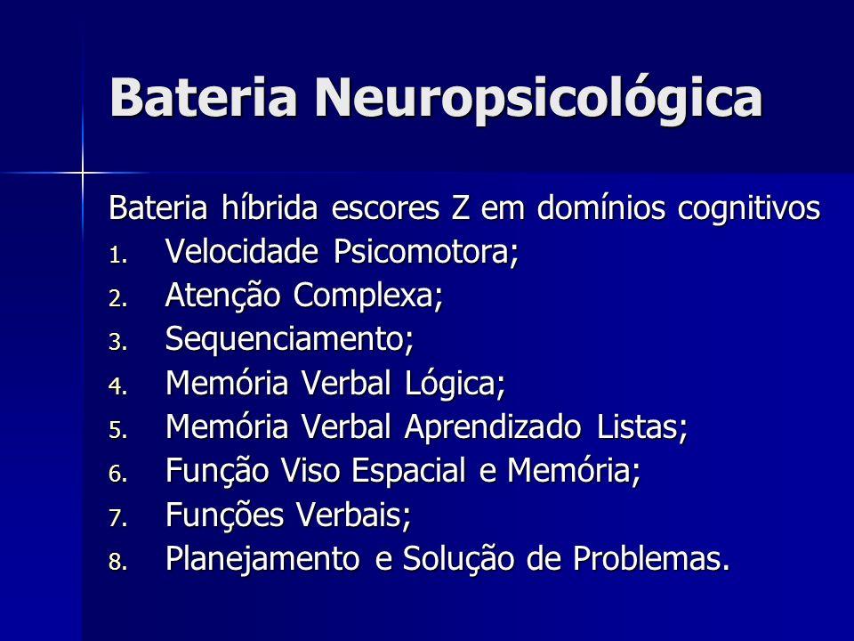 Bateria Neuropsicológica Bateria híbrida escores Z em domínios cognitivos 1. Velocidade Psicomotora; 2. Atenção Complexa; 3. Sequenciamento; 4. Memóri