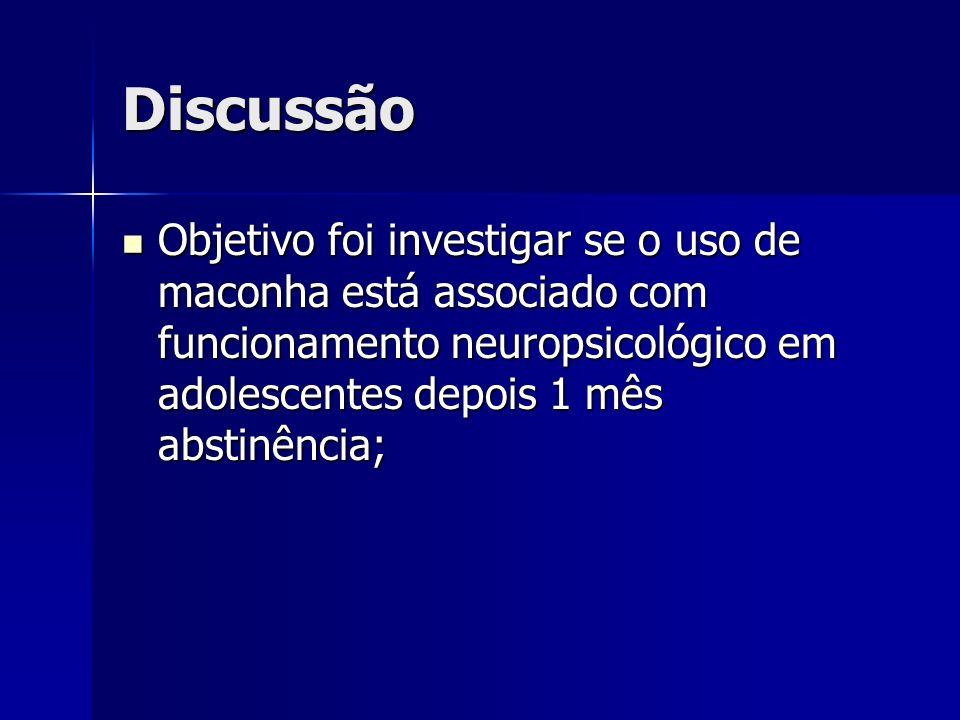 Discussão Objetivo foi investigar se o uso de maconha está associado com funcionamento neuropsicológico em adolescentes depois 1 mês abstinência; Obje