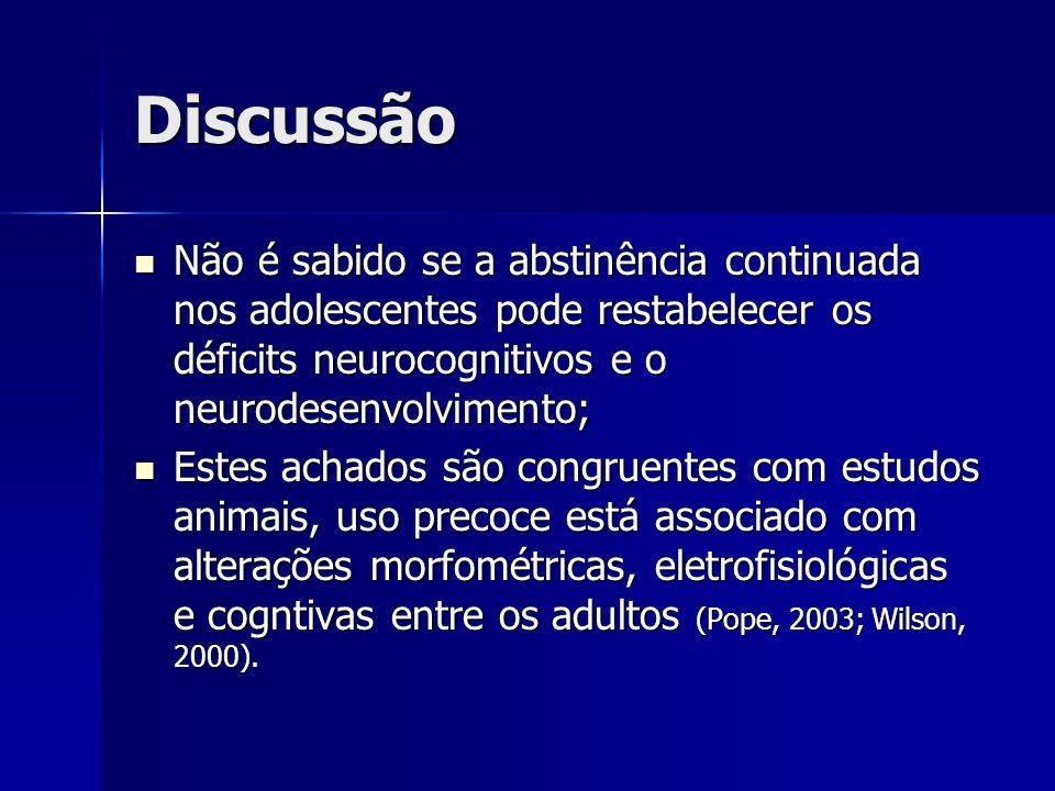 Discussão Não é sabido se a abstinência continuada nos adolescentes pode restabelecer os déficits neurocognitivos e o neurodesenvolvimento; Não é sabi