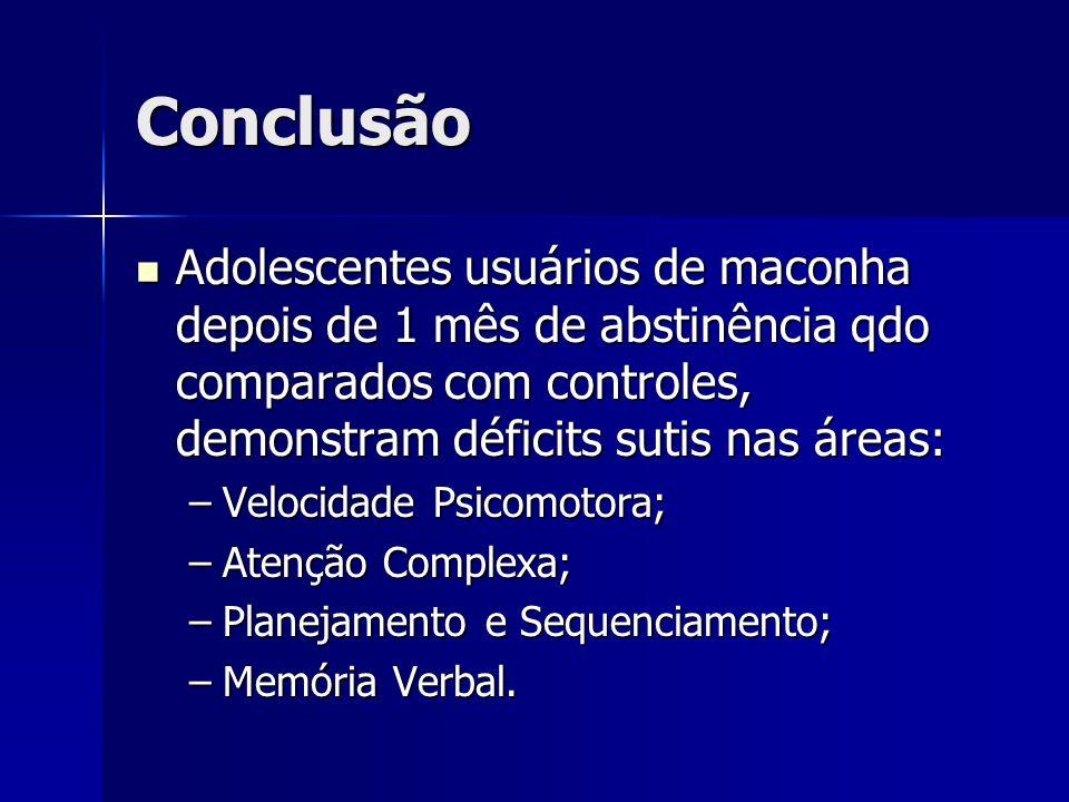 Conclusão Adolescentes usuários de maconha depois de 1 mês de abstinência qdo comparados com controles, demonstram déficits sutis nas áreas: Adolescen