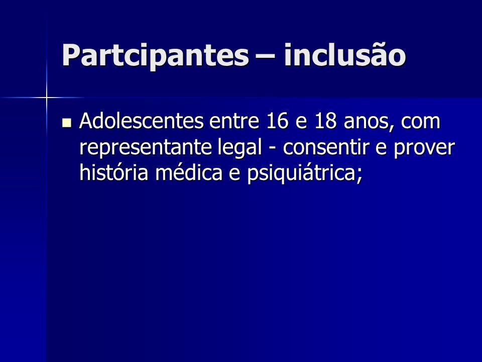 Partcipantes – inclusão Adolescentes entre 16 e 18 anos, com representante legal - consentir e prover história médica e psiquiátrica; Adolescentes ent