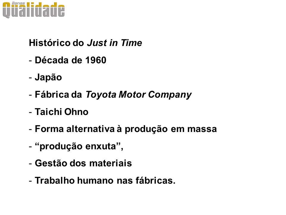 Histórico do Just in Time - Década de 1960 - Japão - Fábrica da Toyota Motor Company - Taichi Ohno - Forma alternativa à produção em massa - produção