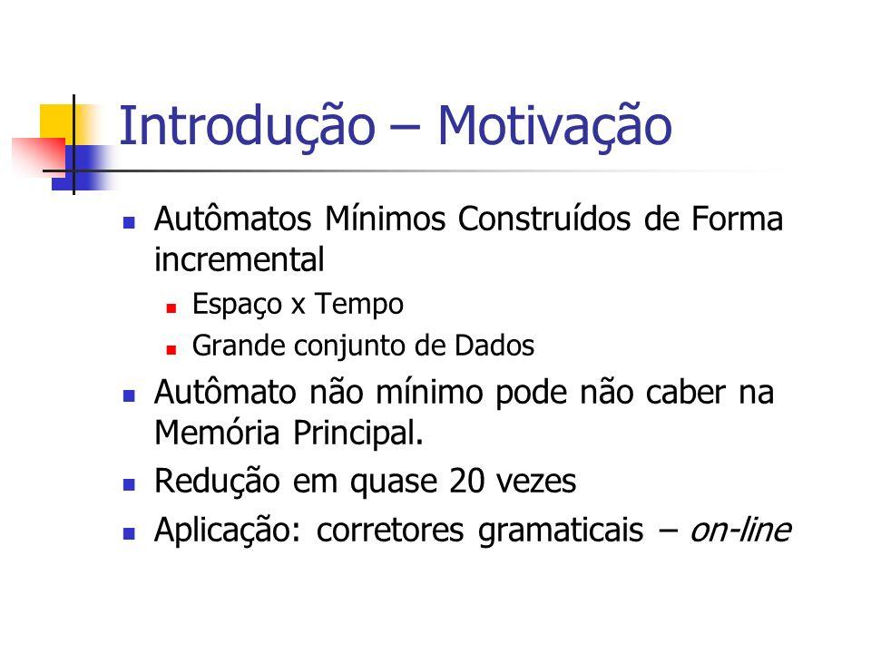 Introdução - Trabalhos Minimização de Autômatos Moore 1956 - O(n 2 ) Hopcroft 1974 - O(n log n) Revuz 1992 – O(n), Bucket Sort Sgarbas 1995 – O(n 2 ), ?