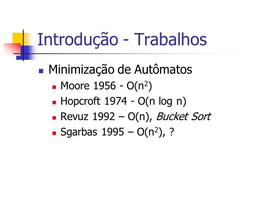 Introdução - Trabalhos Minimização de Autômatos Moore 1956 - O(n 2 ) Hopcroft 1974 - O(n log n) Revuz 1992 – O(n), Bucket Sort Sgarbas 1995 – O(n 2 ),