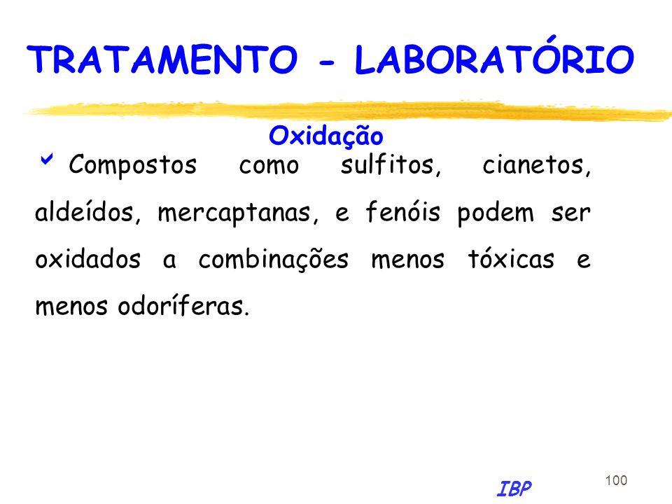 100 Oxidação Compostos como sulfitos, cianetos, aldeídos, mercaptanas, e fenóis podem ser oxidados a combinações menos tóxicas e menos odoríferas. IBP