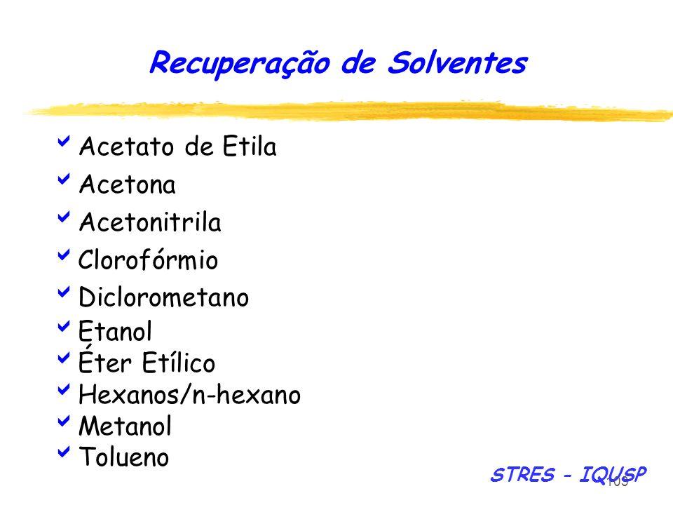 103 Acetato de Etila Acetona Acetonitrila Clorofórmio Diclorometano Etanol Éter Etílico Hexanos/n-hexano Metanol Tolueno Recuperação de Solventes STRE