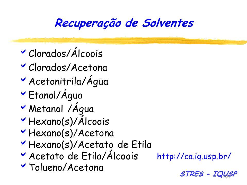 104 Clorados/Álcoois Clorados/Acetona Acetonitrila/Água Etanol/Água Metanol /Água Hexano(s)/Álcoois Hexano(s)/Acetona Hexano(s)/Acetato de Etila Aceta
