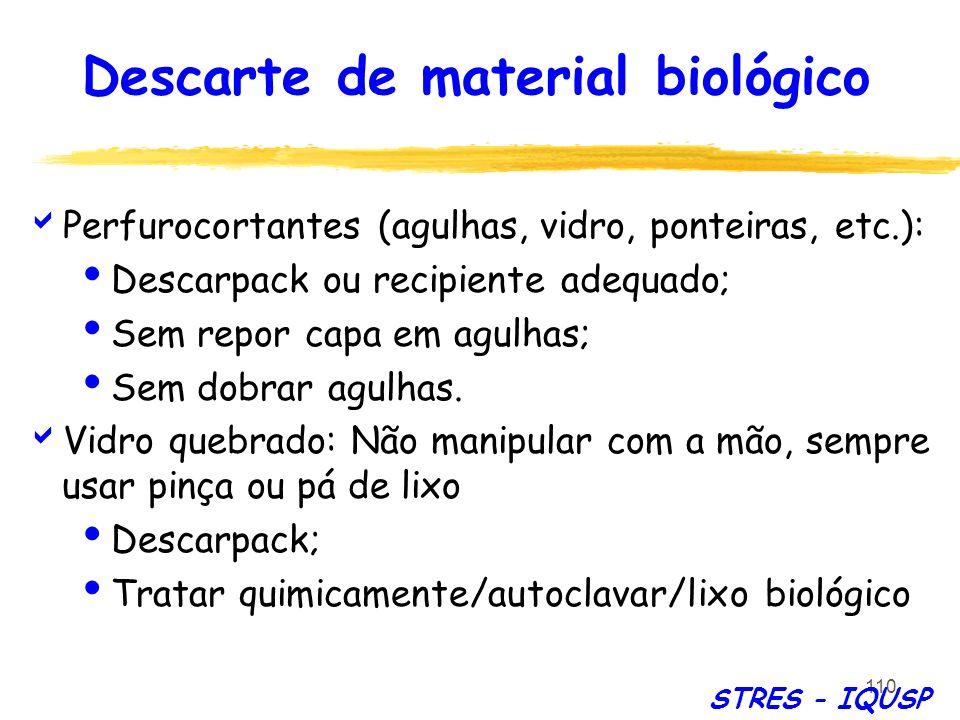 110 Perfurocortantes (agulhas, vidro, ponteiras, etc.): Descarpack ou recipiente adequado; Sem repor capa em agulhas; Sem dobrar agulhas. Vidro quebra