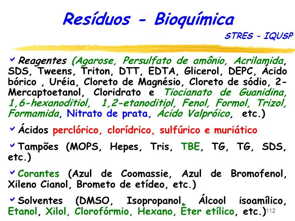 112 Resíduos - Bioquímica Reagentes (Agarose, Persulfato de amônio, Acrilamida, SDS, Tweens, Triton, DTT, EDTA, Glicerol, DEPC, Ácido bórico, Uréia, C